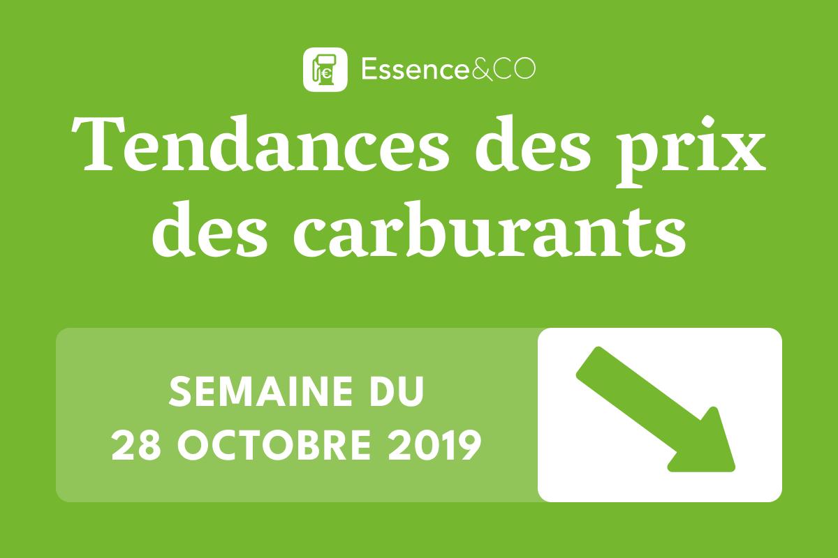 Tendances des prix des carburants semaine du 28 octobre 2019