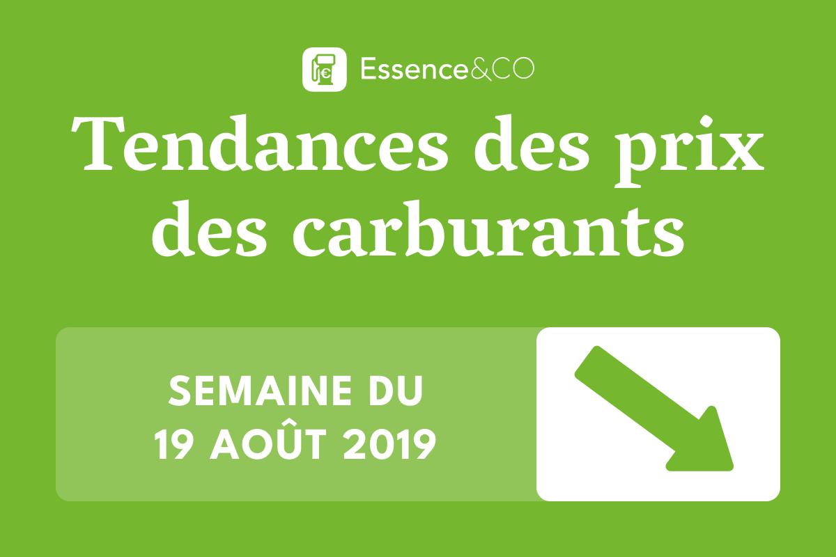 Tendances prix des carburants semaine du 19 août 2019